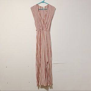 Caution to the Wind Red Striped Maxi Dress